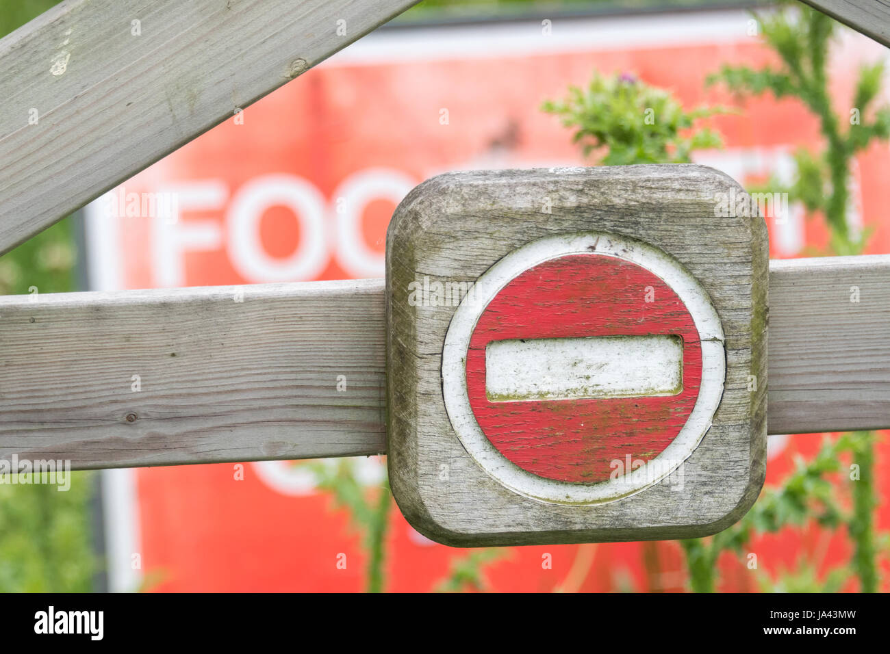 No entry sign at Rye Meads RSPB Reserve - Stock Image