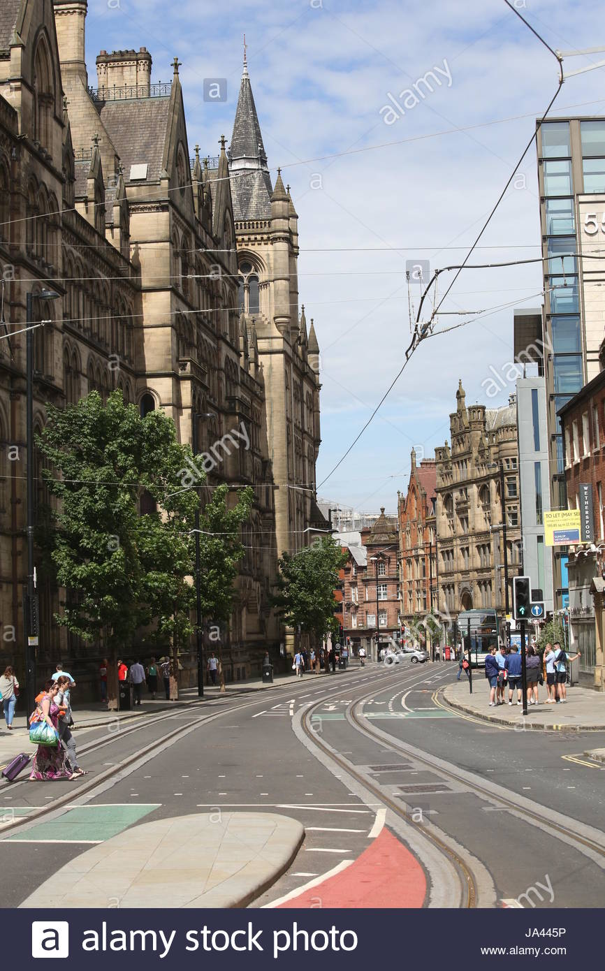 Manchester city centre on a sunny day in the week of the Manchester bombing - Stock Image