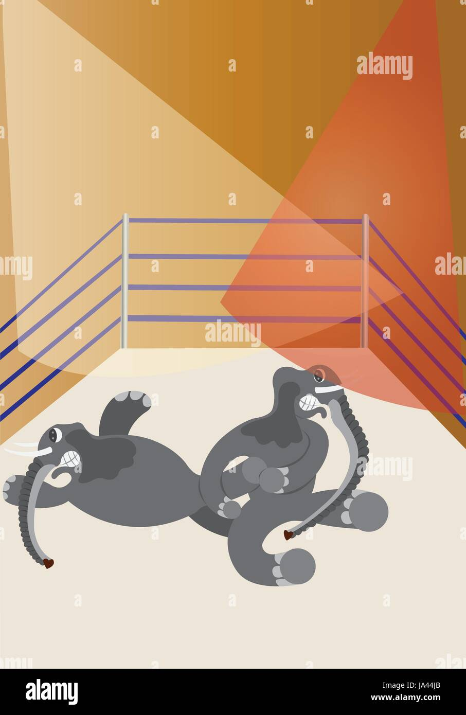two big elephants wrestling in a ring - Stock Image