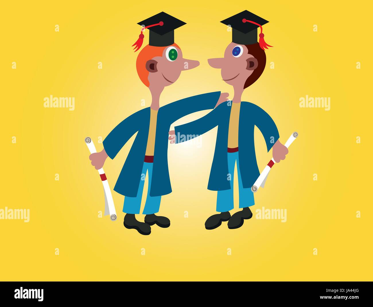 A pair of Youngsters celebrating their graduation - Stock Vector