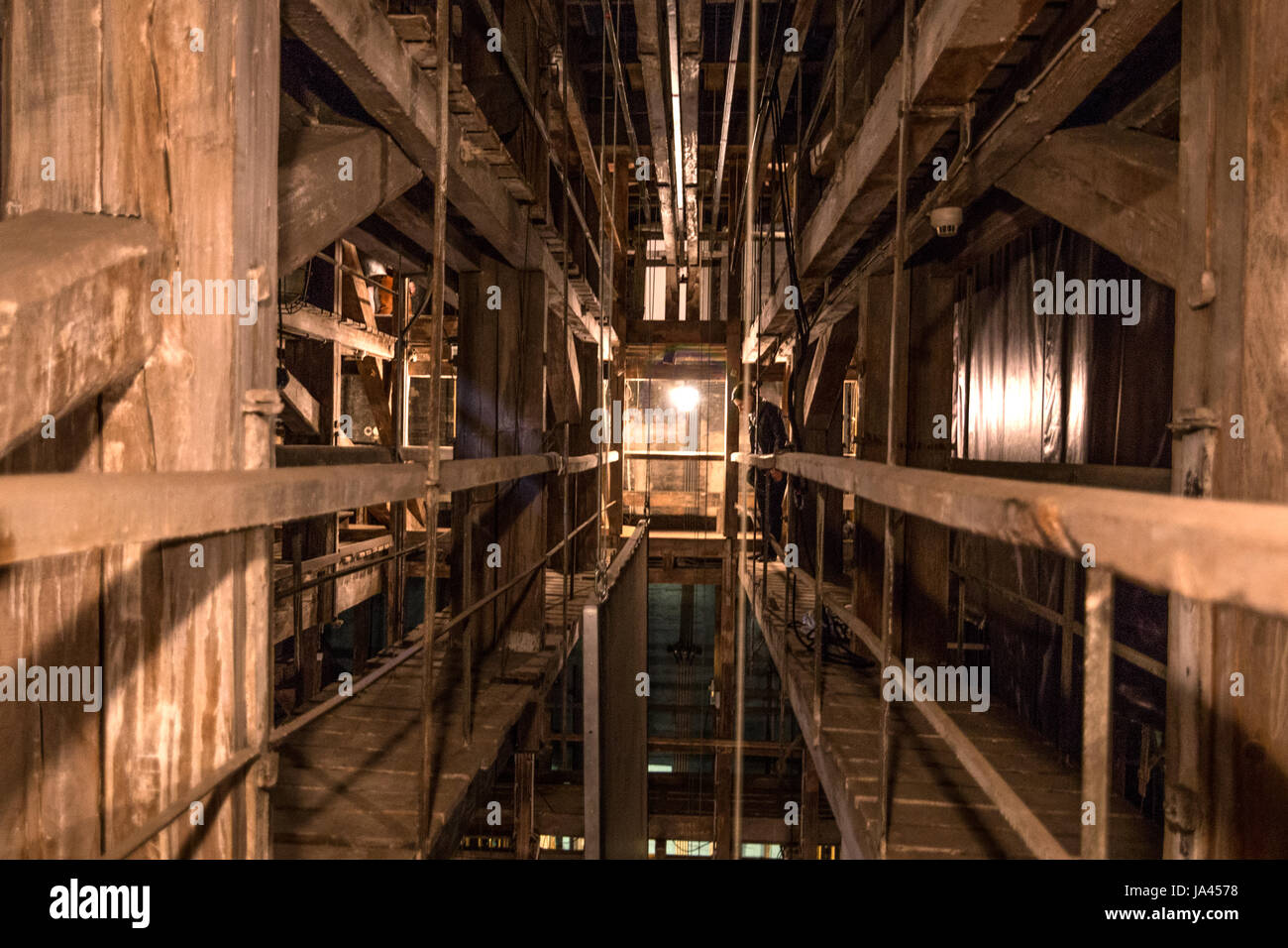 Behind the stage in an old theatre building - recesses, corners, interiors and the mystery or mechanics of art. - Stock Image