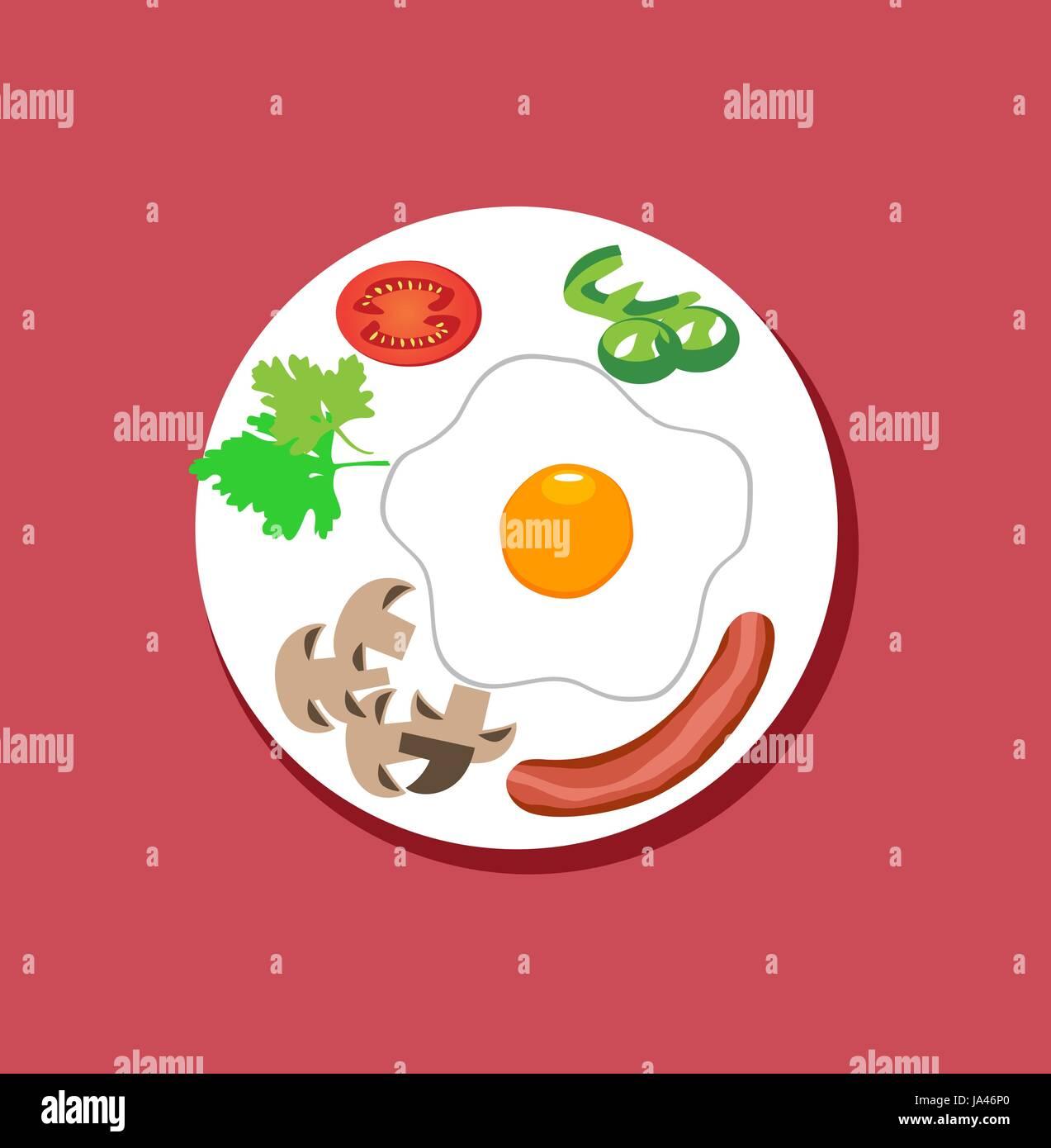 Vector Illustration Of Breakfast Flat Design Food On Plate Fried Stock Vector Image Art Alamy