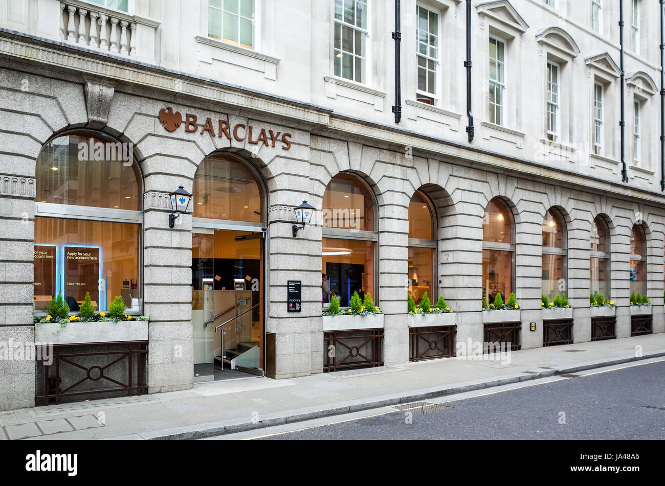 Barclays Bank in King Street in London's Financial District the City of London or Square Mile - Stock Image