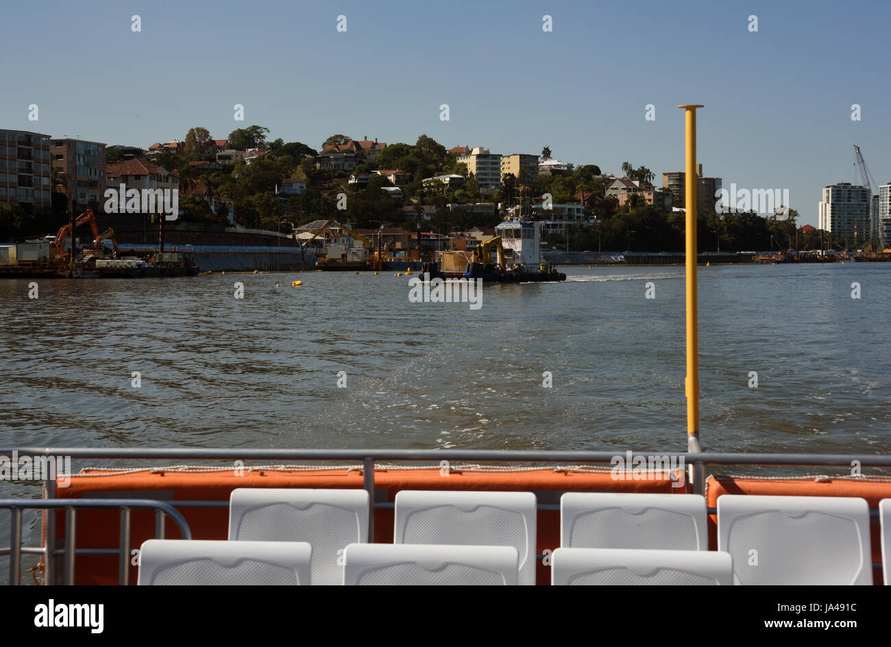 Brisbane, Australia: View of the Hamilton area from the rear deck of a CityCat passenger ferry - Stock Image