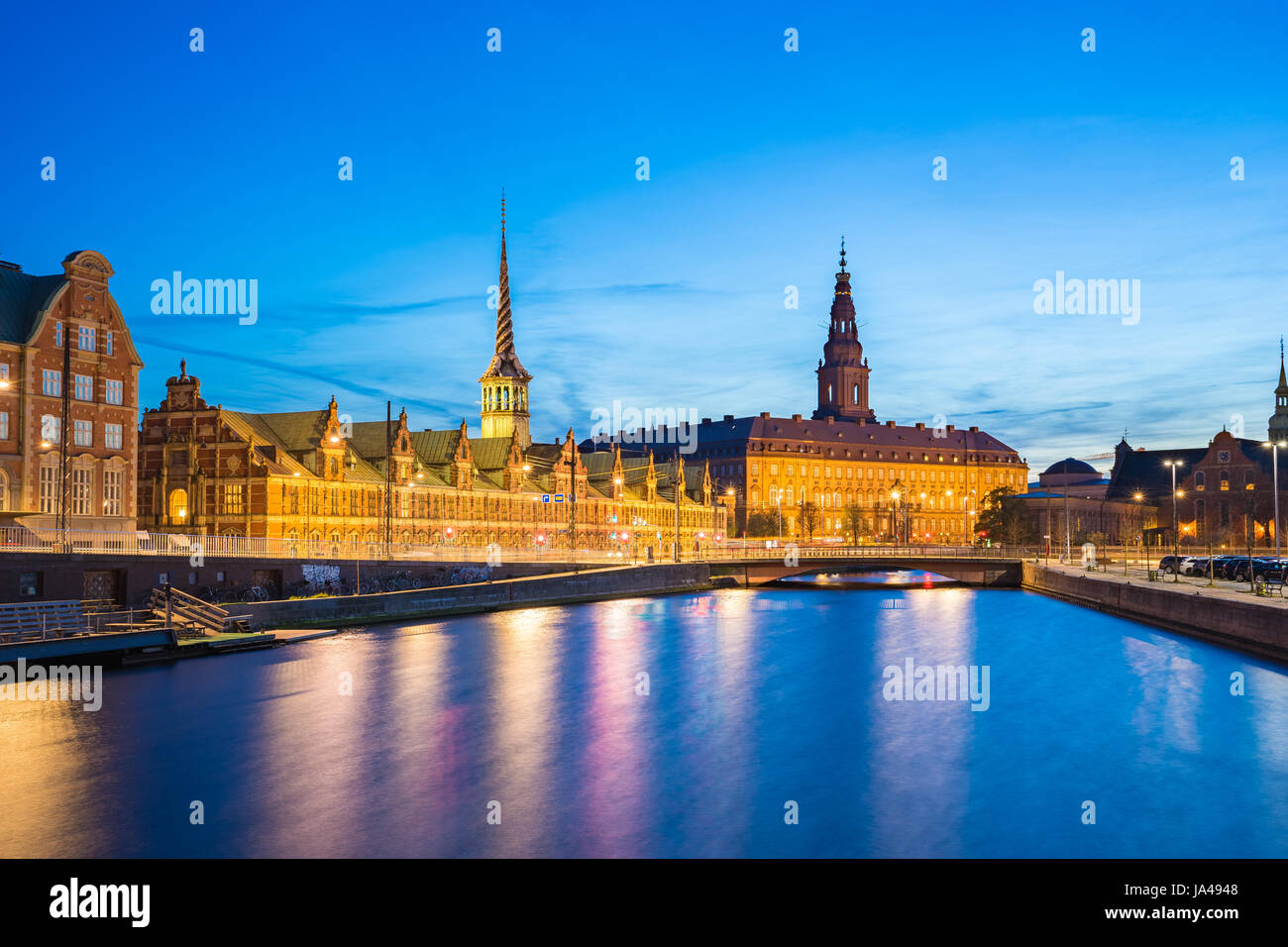 Christiansborg Palace at night in Copenhagen city, Denmark. Stock Photo