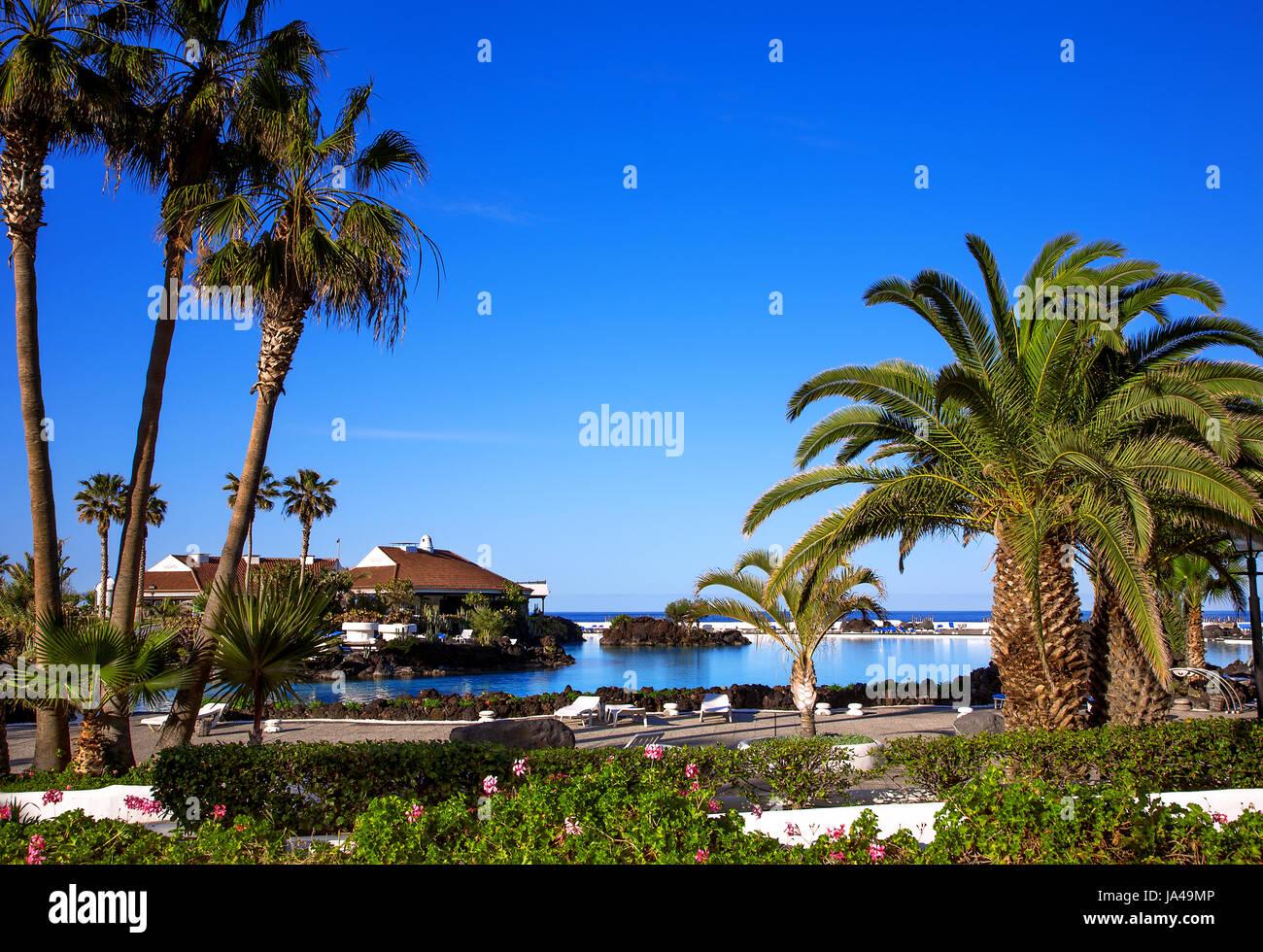 Lago de la Costa de Martianez, Puerto de la Cruz, Island Tenerife, Canary Islands, Spain - Stock Image