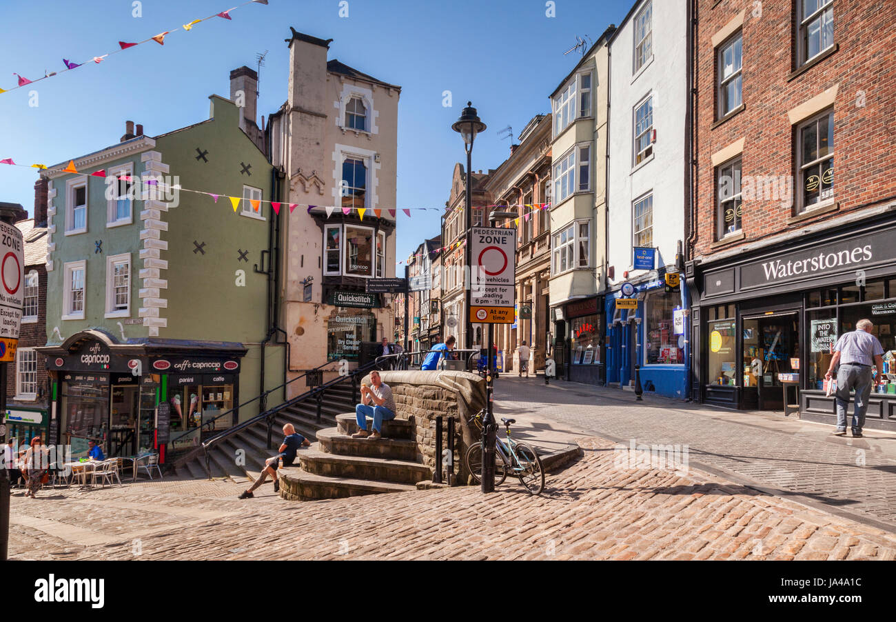 25 May 2017: Durham City, England, UK - Saddler Street on a sunny spring morning. - Stock Image