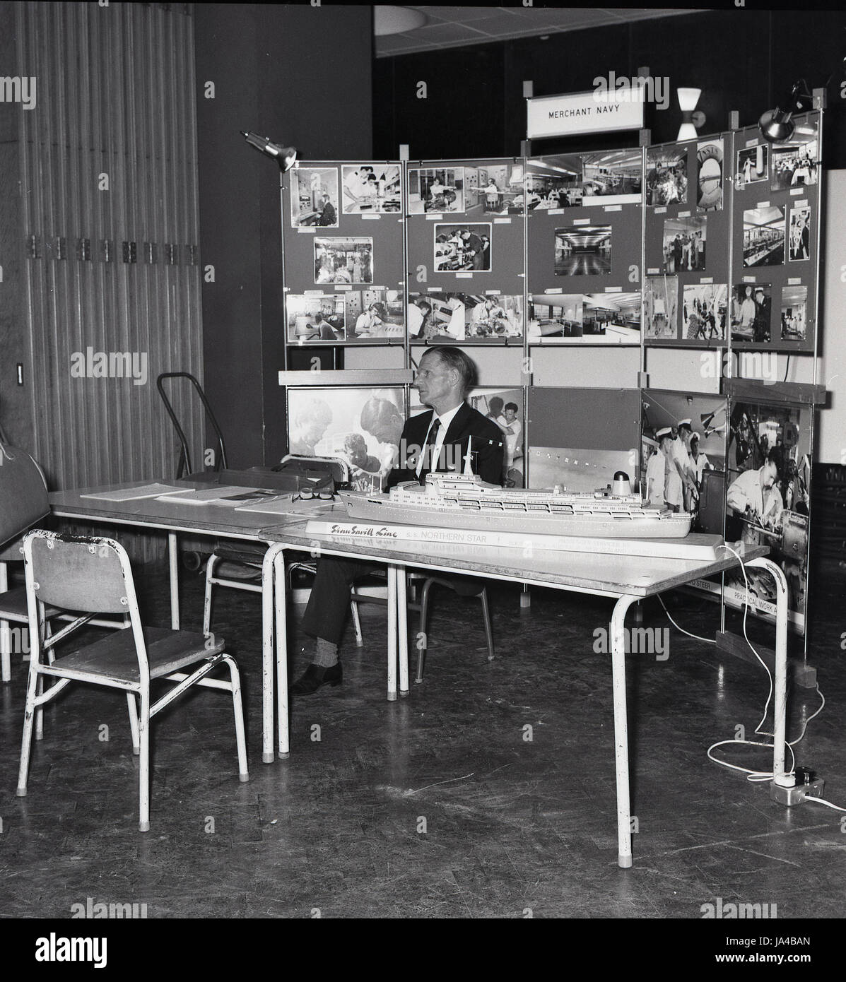 1960s, historical, Merchant Navy job recruitment and information stand at a students careers show or job fair, London, - Stock Image