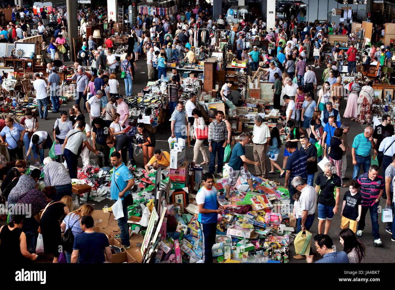 Encants market, Barcelona, Spain. - Stock Image