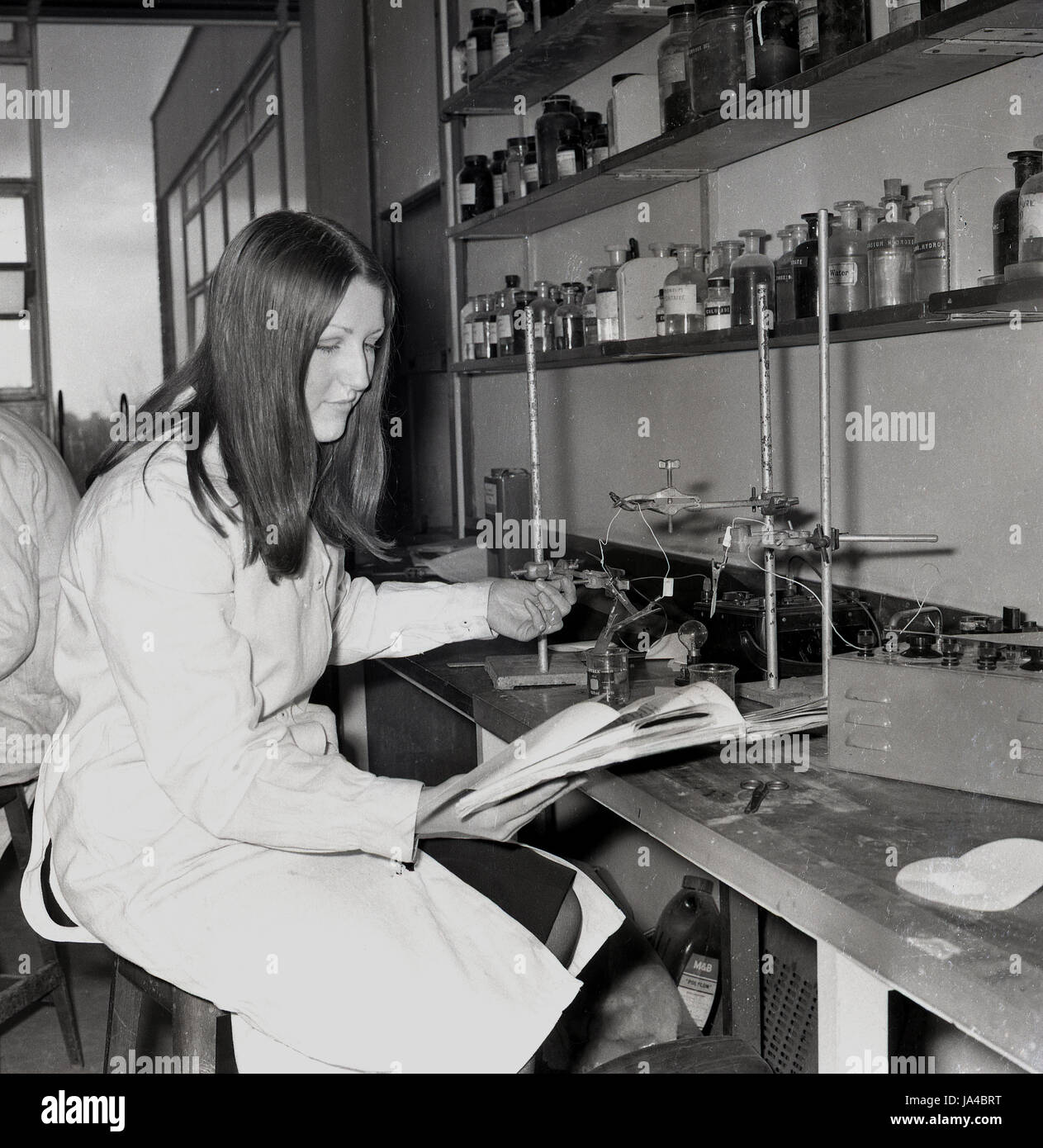 1960s, historical, female student in a scence laboratory at Sedgehill School, Lewisham, South London, England, UK, - Stock Image