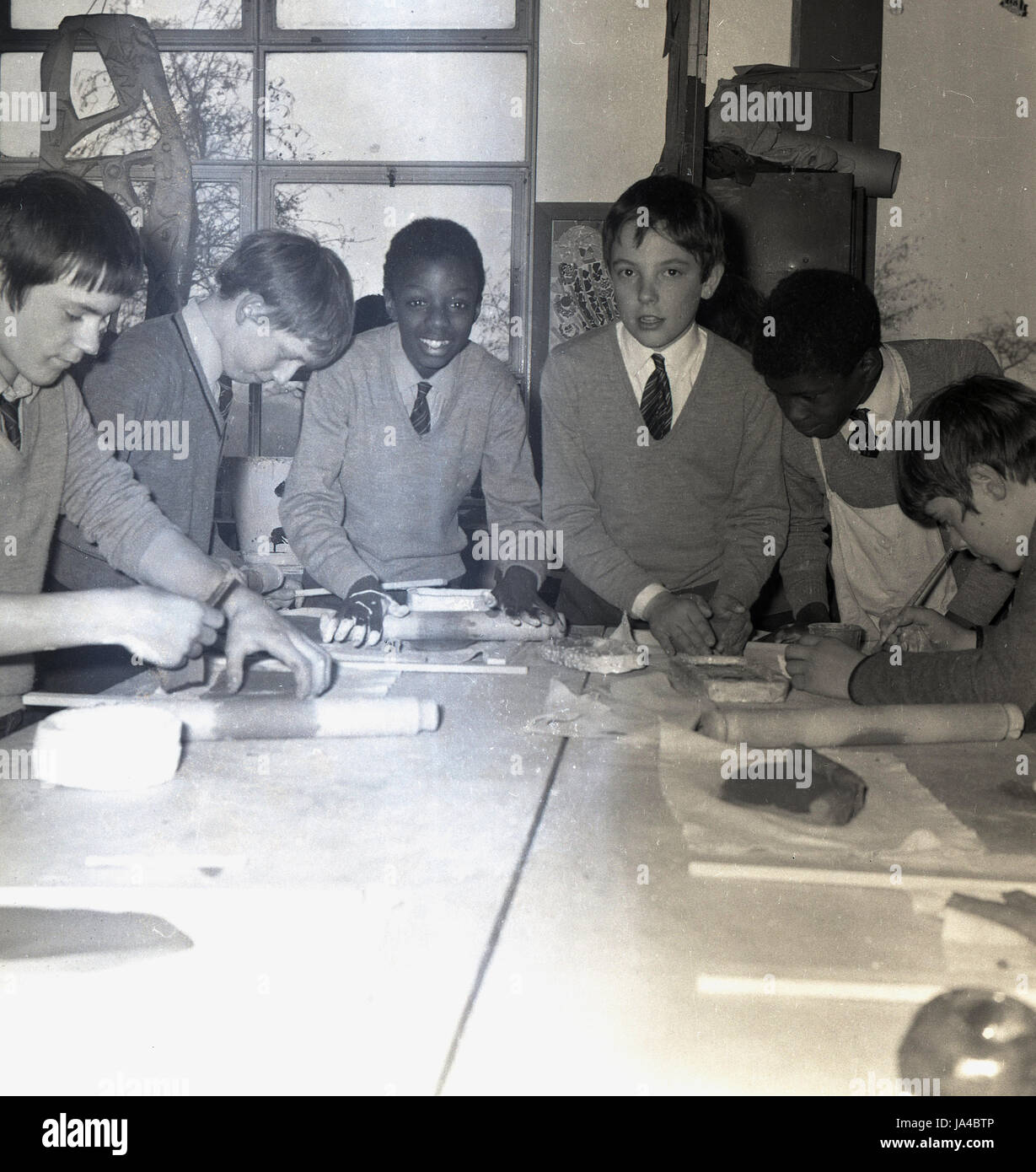 1960s, historical, mix of different ethnic boys in a classroom at Sedgehill School, Lewisham, South London, England, - Stock Image