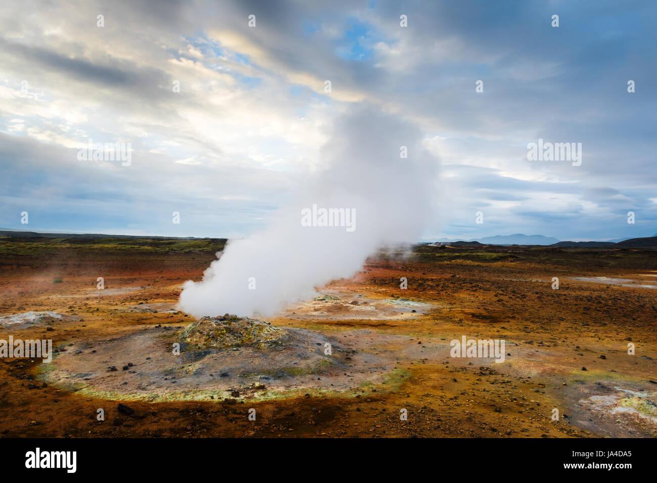 Smoking fumaroles on Hverarond valley, north Iceland, Europe. - Stock Image