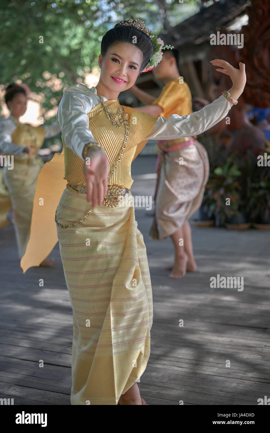 8180c811f Thailand dancer in traditional dress. Thai dance - Stock Image