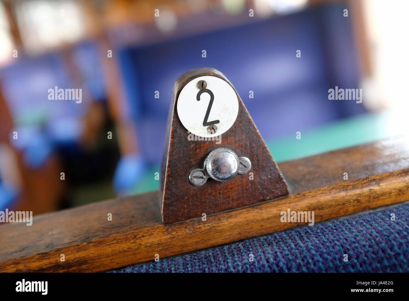 number 2 seat in old railway carriage - Stock Image