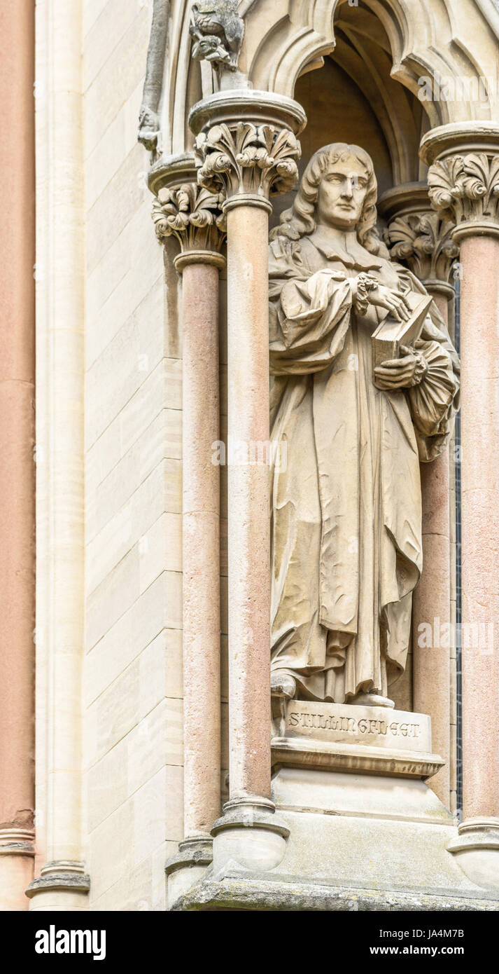Statue of Edward Stillingfleet (1635-1699), a british theologian and scholar, on the outside wall of St John's - Stock Image