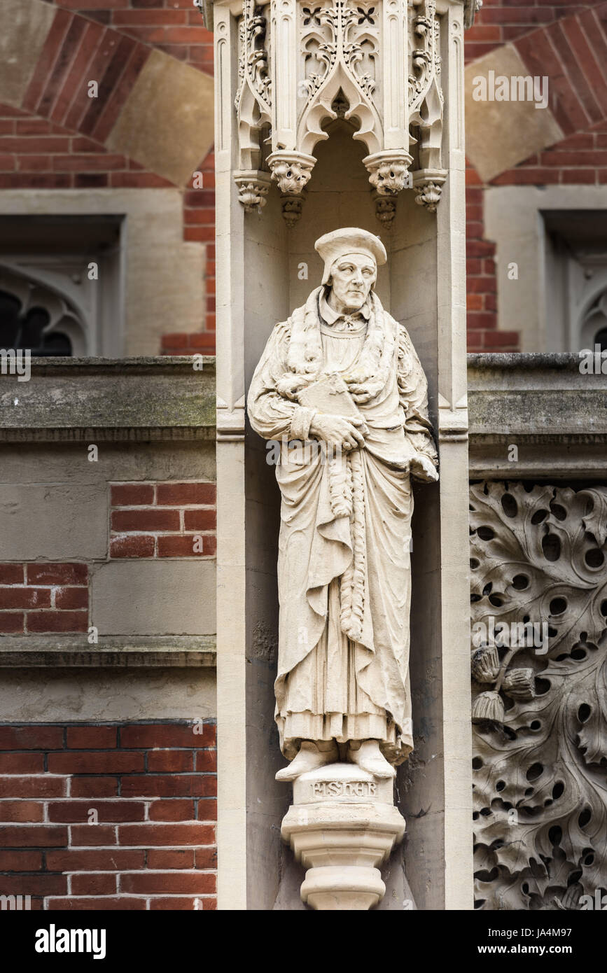 Statue of John Fisher (1465 1535),  bishop, humanist, chancellor, martyr, saint, cardinal, scholar and theologian, - Stock Image