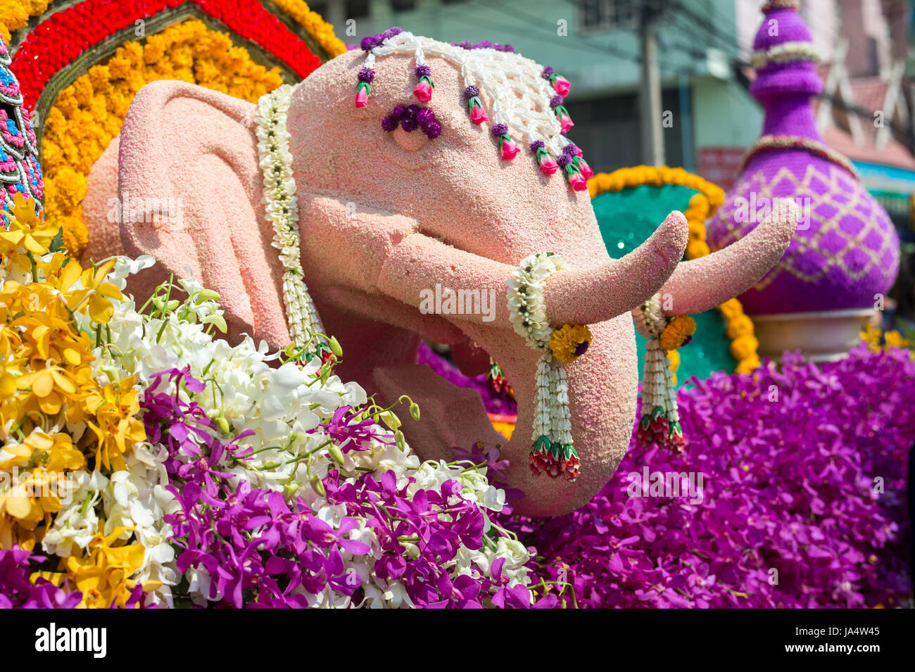 Chiang Mai Flower Festival Parade on February 6, 2016 in Chiang Mai. This year the world famous festival celebrated - Stock Image