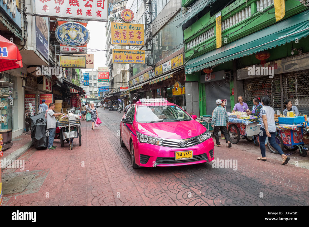 Chinatown in Bangkok. Chinatown is a major tourist attraction in Bangkok famous for its markets and gold shops. - Stock Image