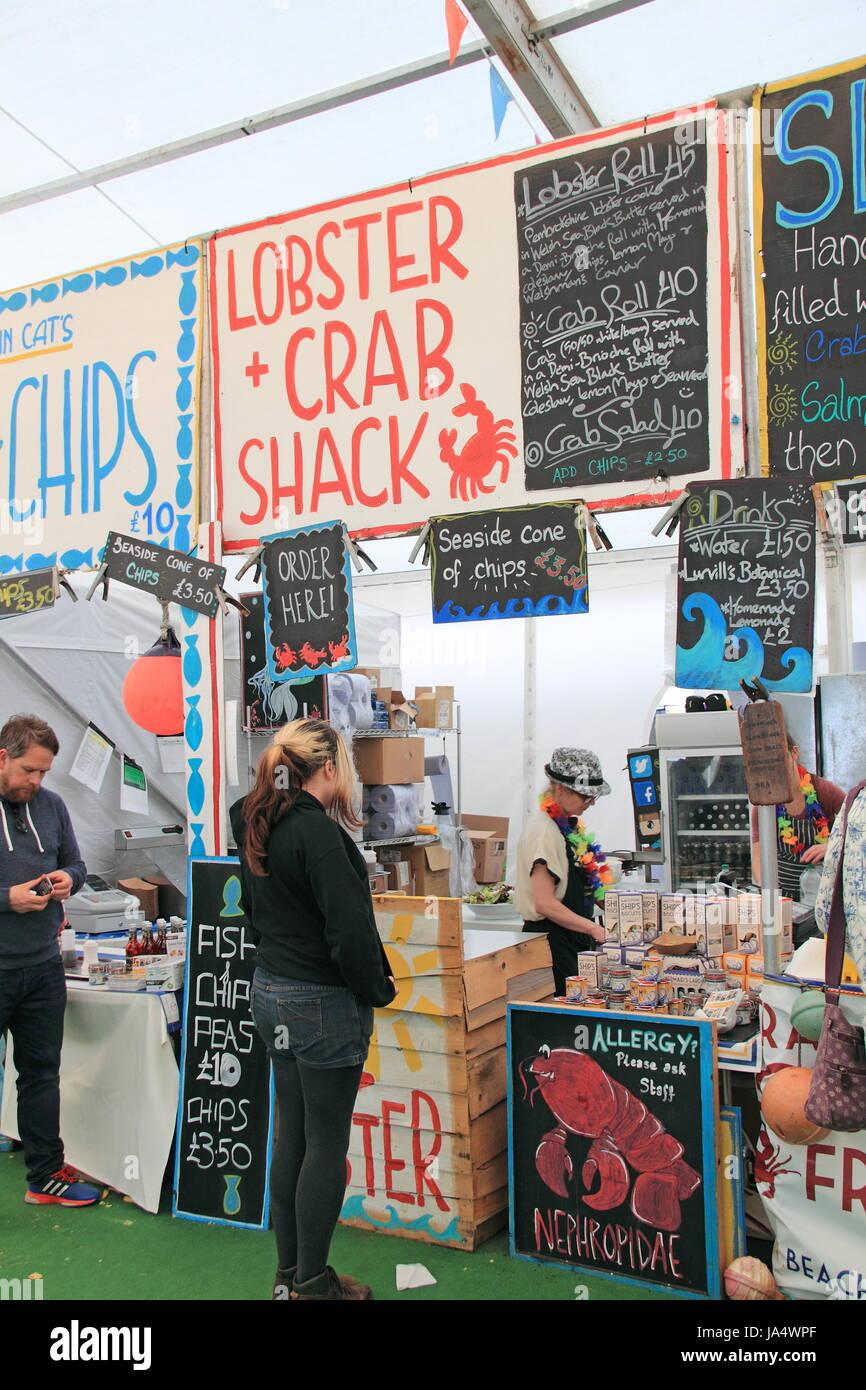 Café Môr seafood stall, Festival Foodhall, Hay Festival 2017, Hay-on-Wye, Brecknockshire, Powys, Wales, - Stock Image