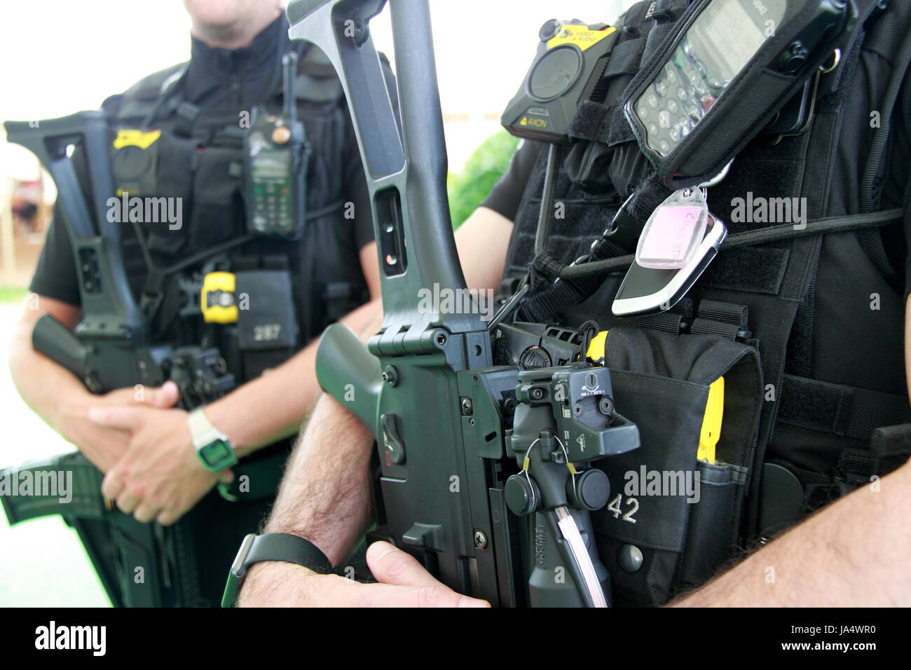 Armed police at Hay Festival 2017, Hay-on-Wye, Brecknockshire, Powys, Wales, Great Britain, United Kingdom, UK, - Stock Image