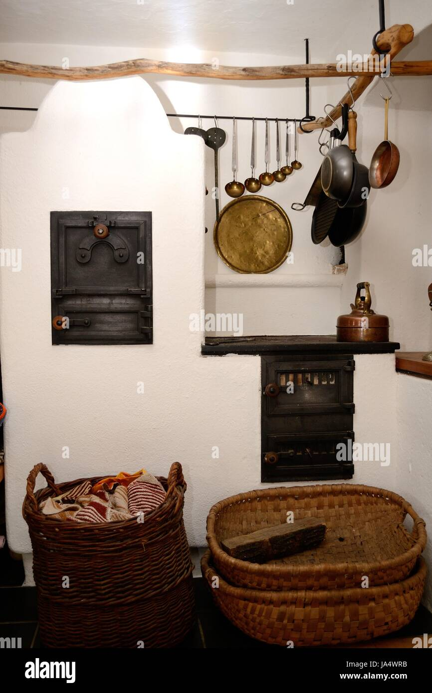 fireplace, stove, rustical, rustic, cooking-stove, ovens, kitchen, cuisine, - Stock Image