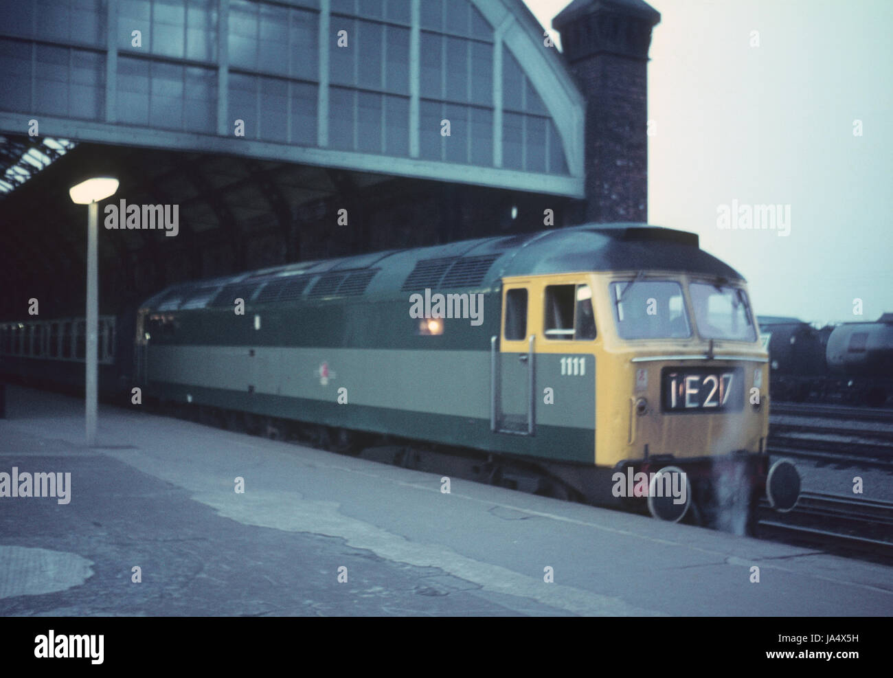 Brush type 4 D1111 in two tone green eat Darlington station in late sixties - Stock Image