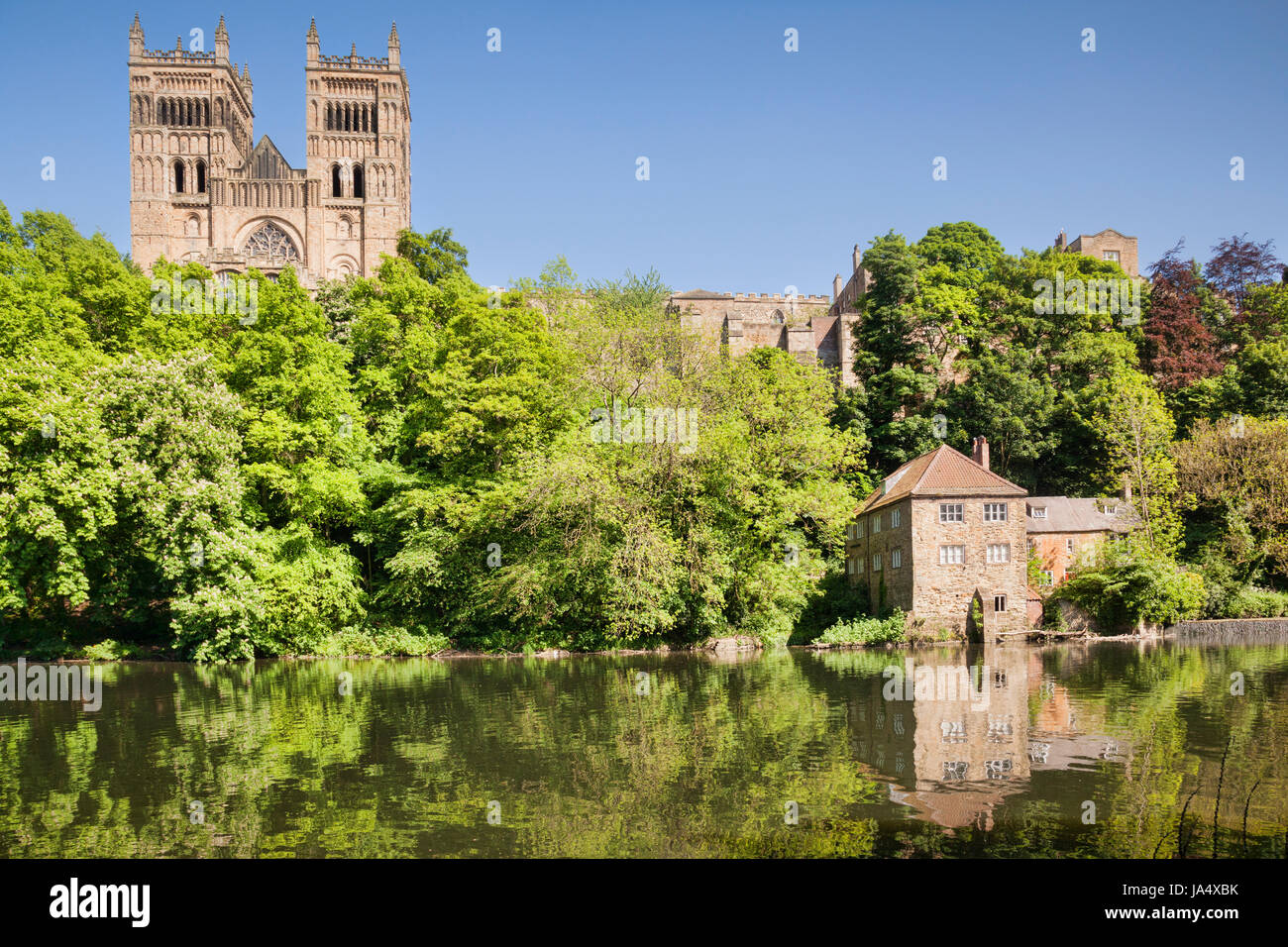 Durham Cathedral, the Old Fulling Mill, now an archaeological museum, and the River Wear, County Durham, England, - Stock Image