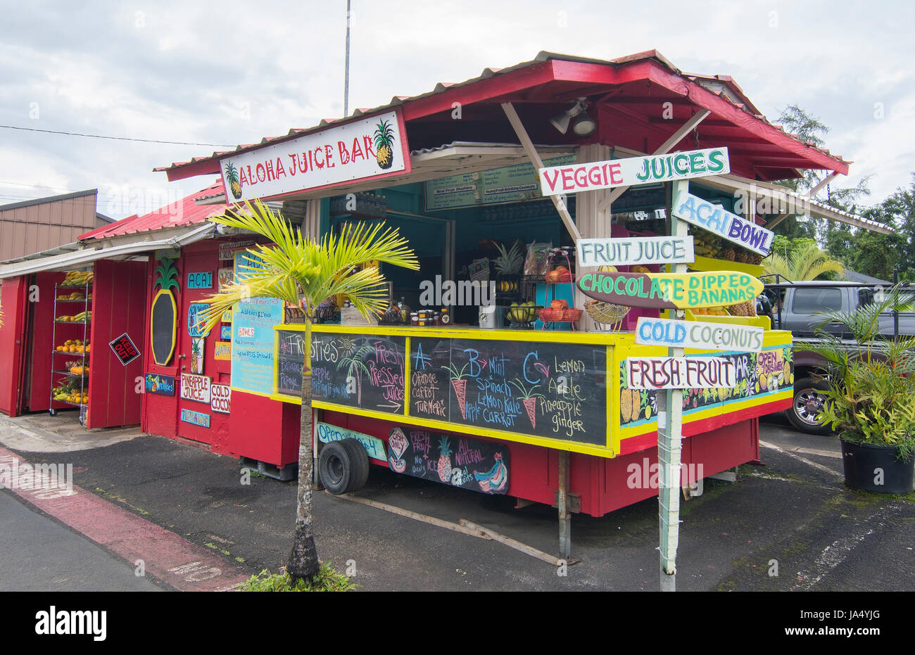 Hanalei Kauai Hawaii Colorful Local Ahola Juicer Bar Truck