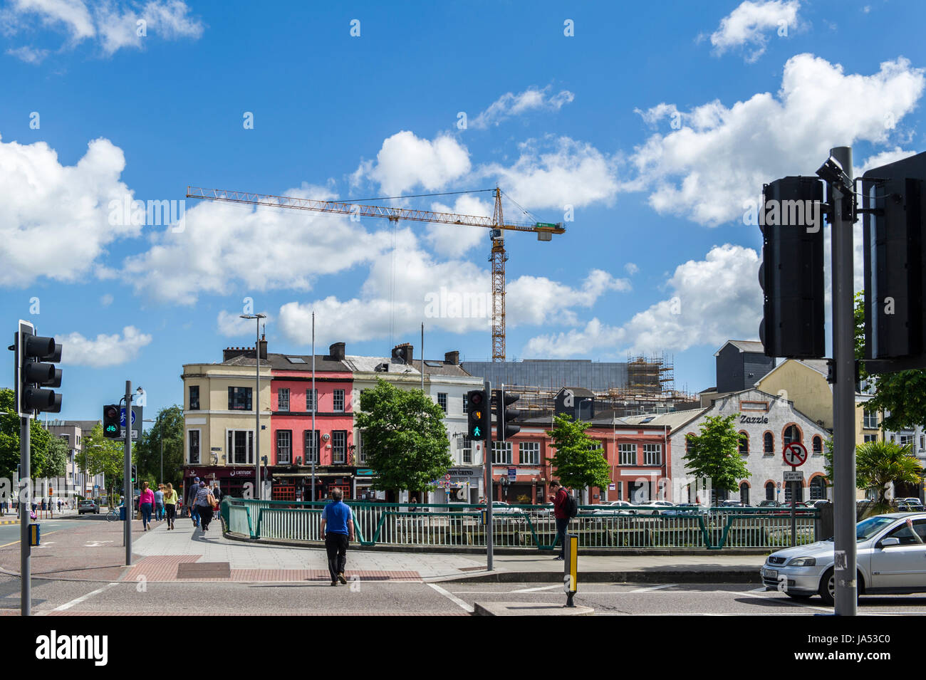 Enormous crane dominates the Cork city skyline, cork, Ireland with copy space . - Stock Image
