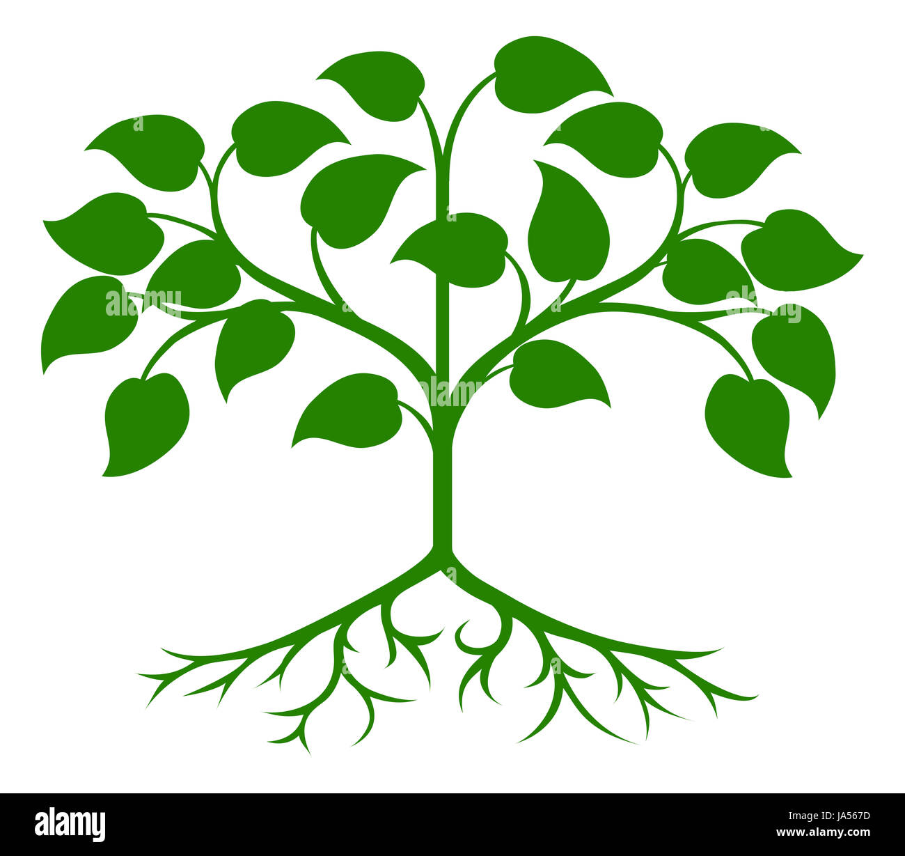 An illustration of an abstract green stylised tree - Stock Image