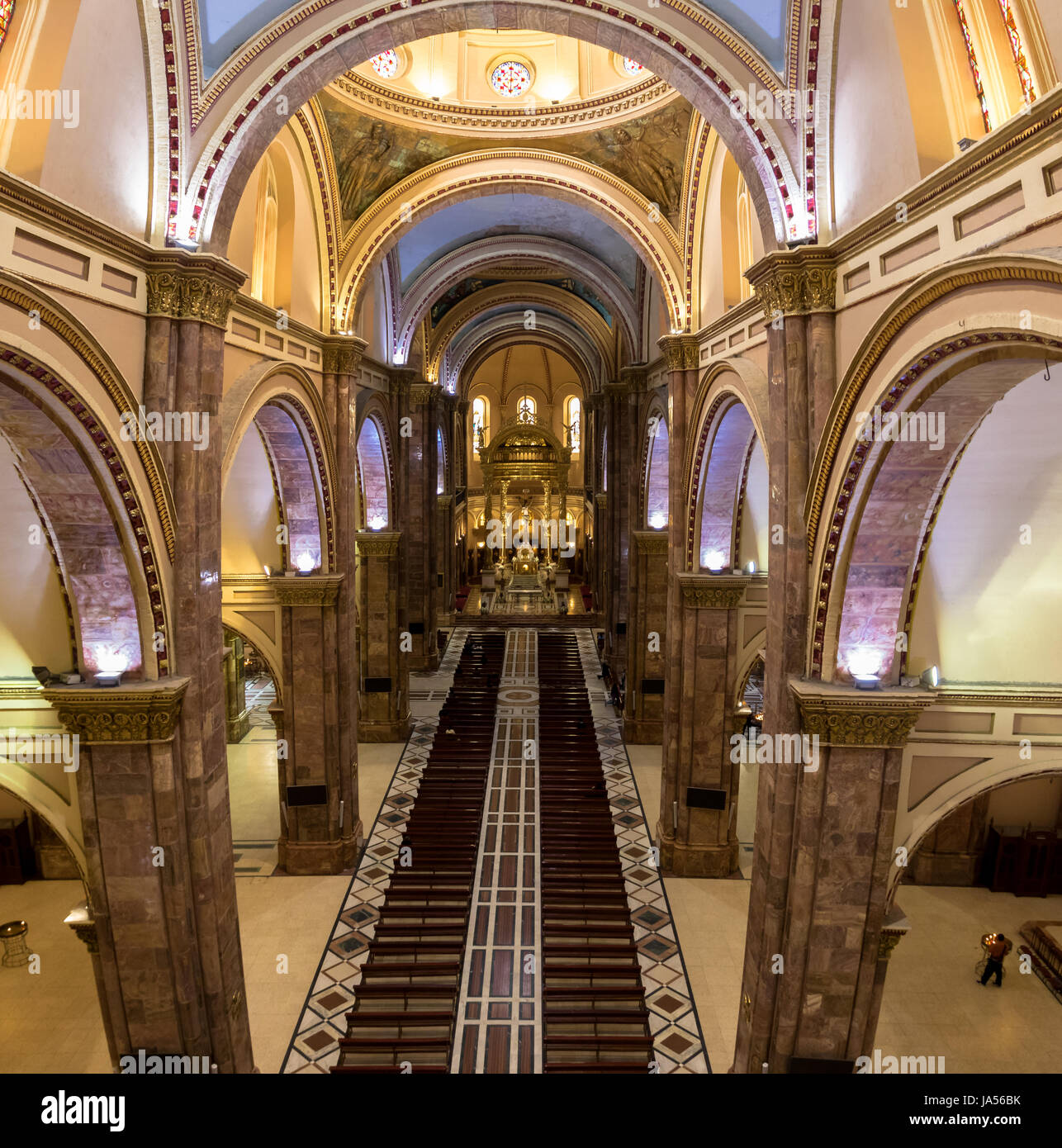 Interior of Inmaculada Concepcion Cathedral - Cuenca, Ecuador - Stock Image