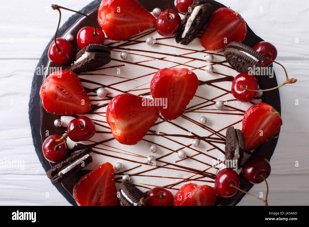 Beautiful Chocolate Cake With Strawberry And Cherry Decorated Stock