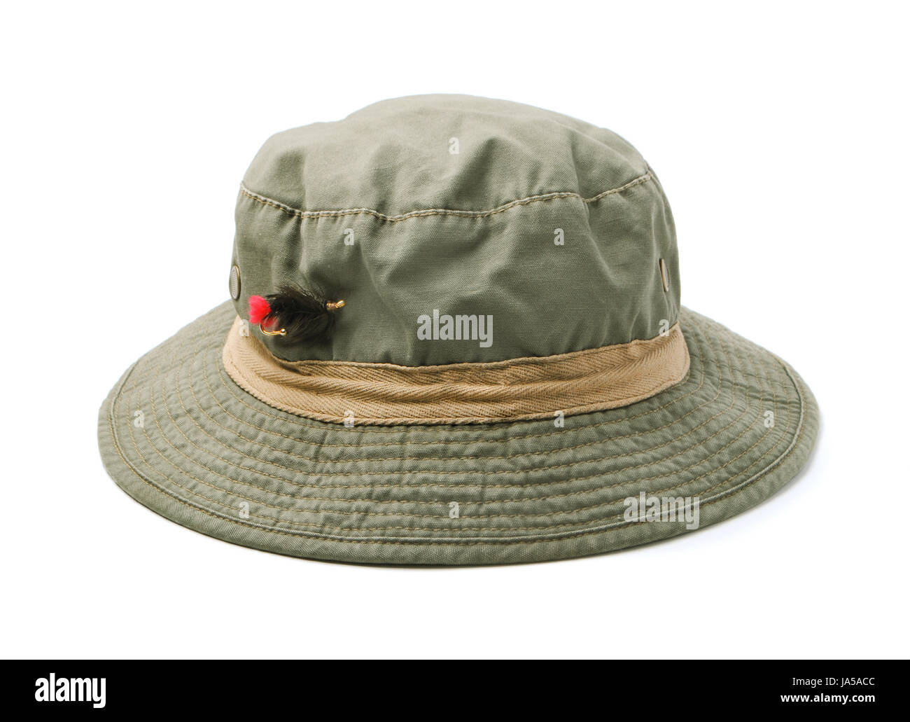 ba57dea58c63a Green fly fishing hat isolated on white Stock Photo  143947452 - Alamy