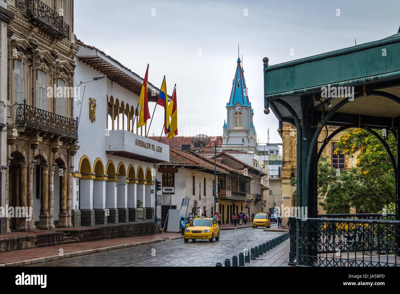Street near Park Calderon and San Alfonso Church Tower - Cuenca, Ecuador - Stock Image