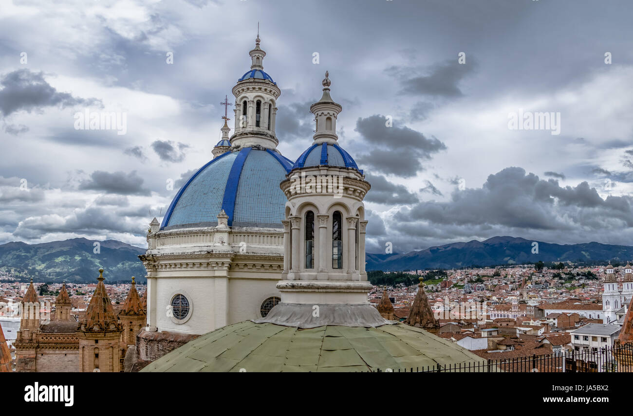 Blue Dome of Inmaculada Concepcion Cathedral and aerial view of Cuenca city  - Cuenca, Ecuador - Stock Image