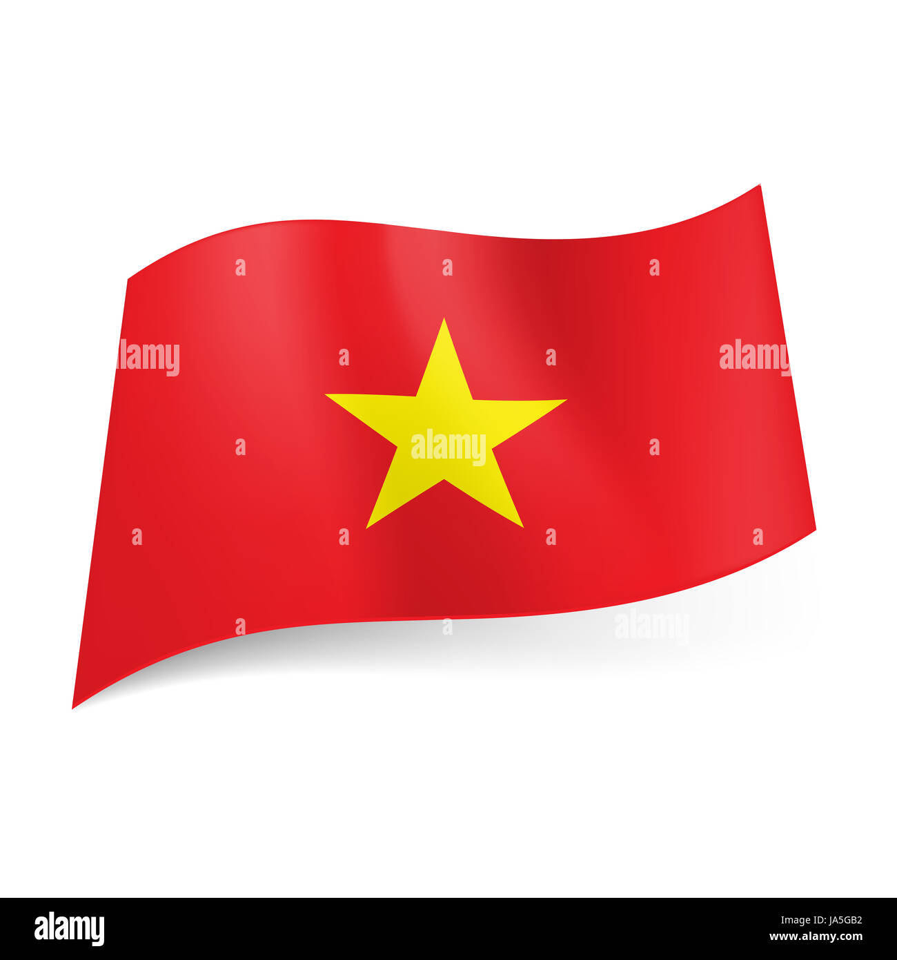 national flag of vietnam: red background with yellow star in centre