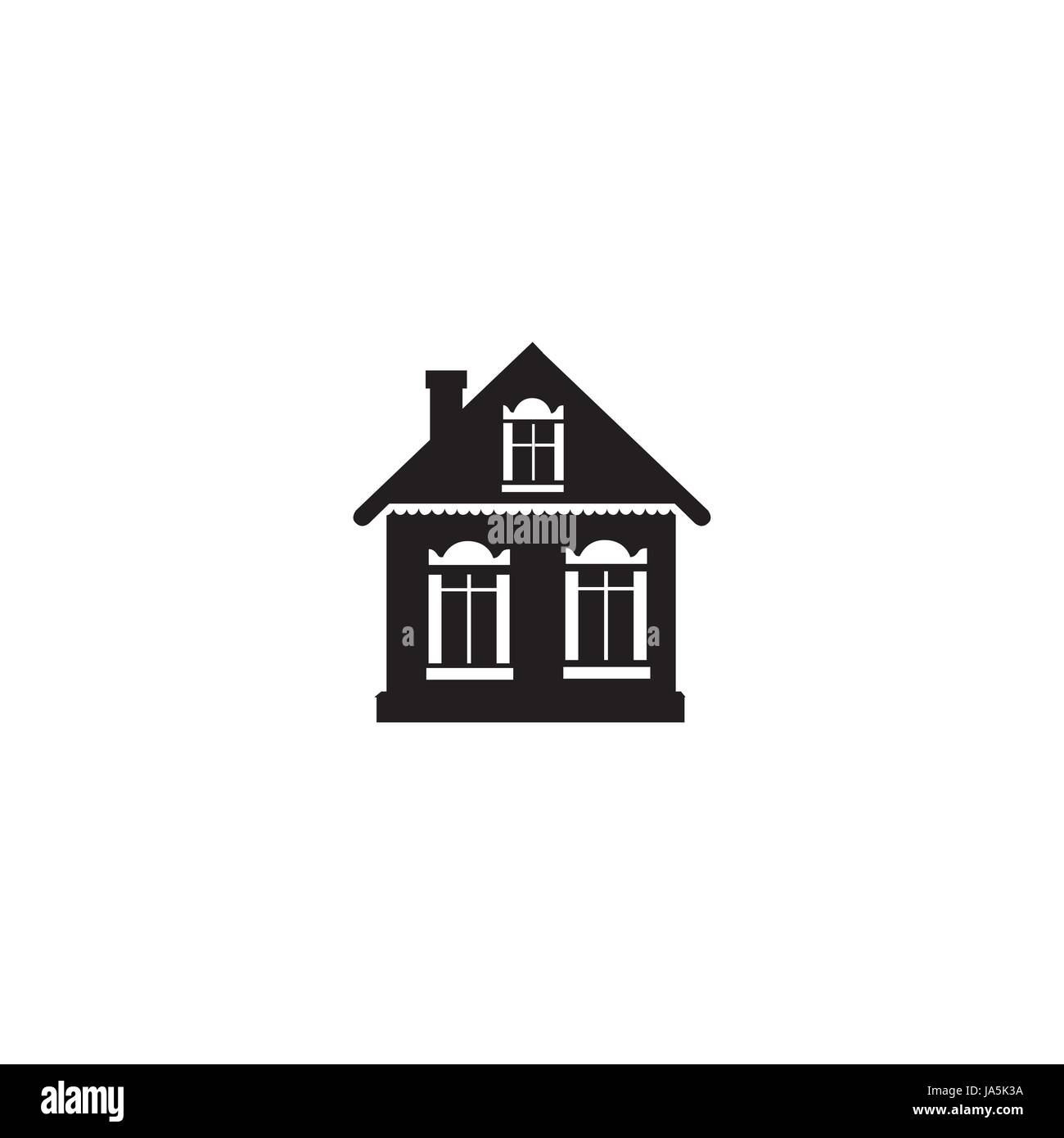 Cabinet sign. Building facade icon. Village house silhouette isolated - Stock Vector