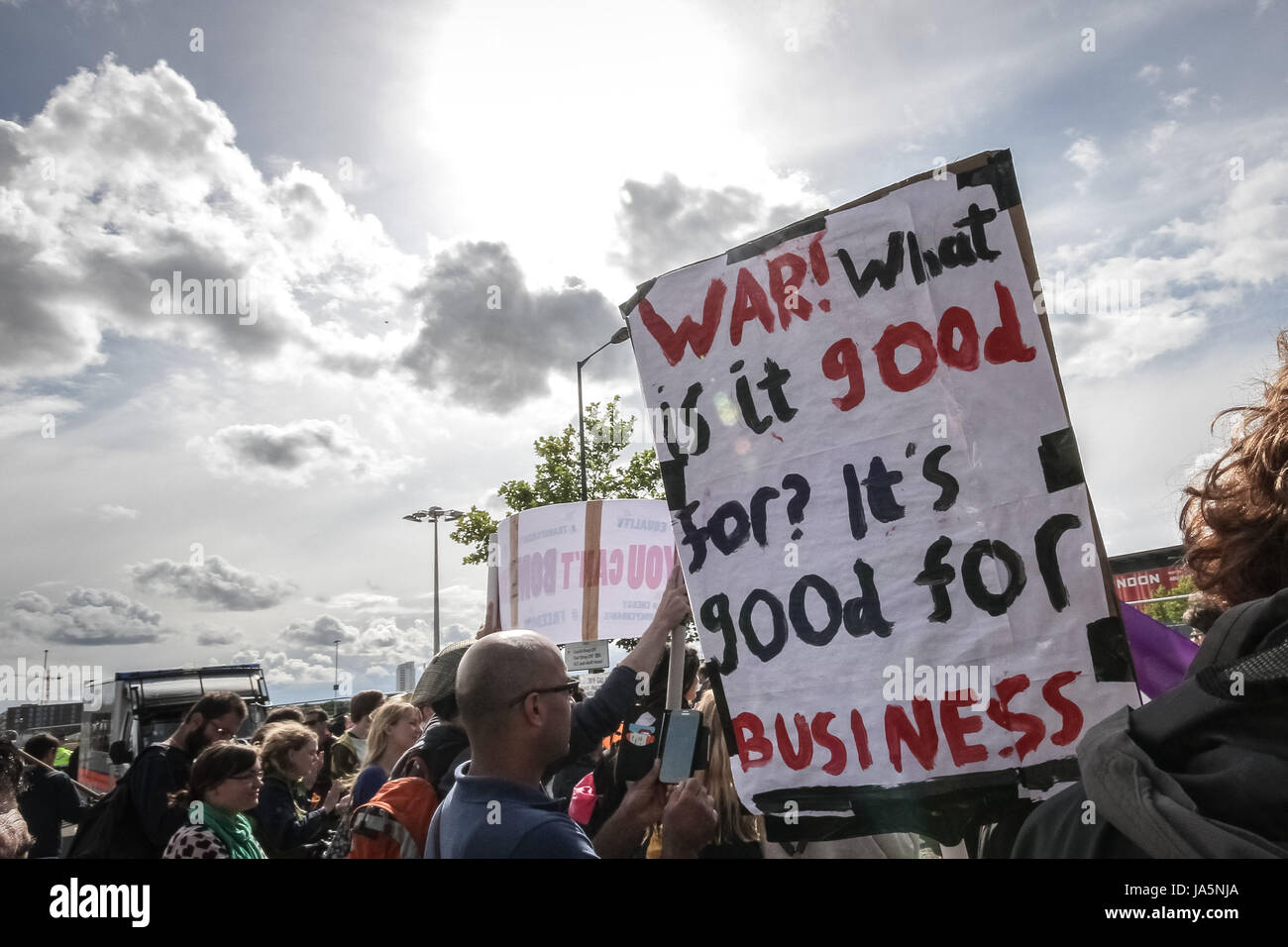 Stop the Arms Fair. Anti-war protest outside Excel Centre in east London, UK. Stock Photo