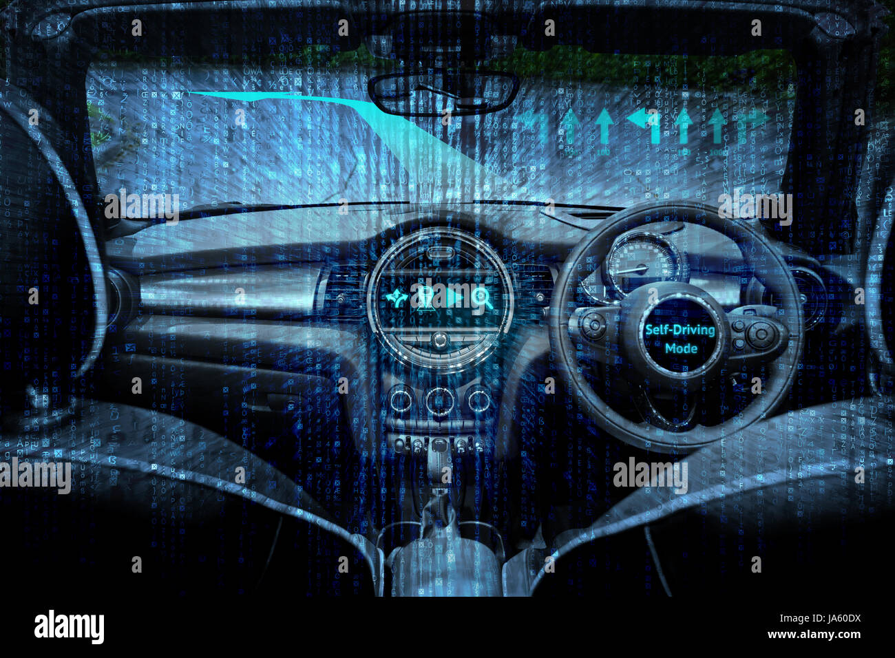 Smart car (HUD) and augmented reality navigation technology concept. Empty cockpit in vehicle and Self-Driving mode - Stock Image