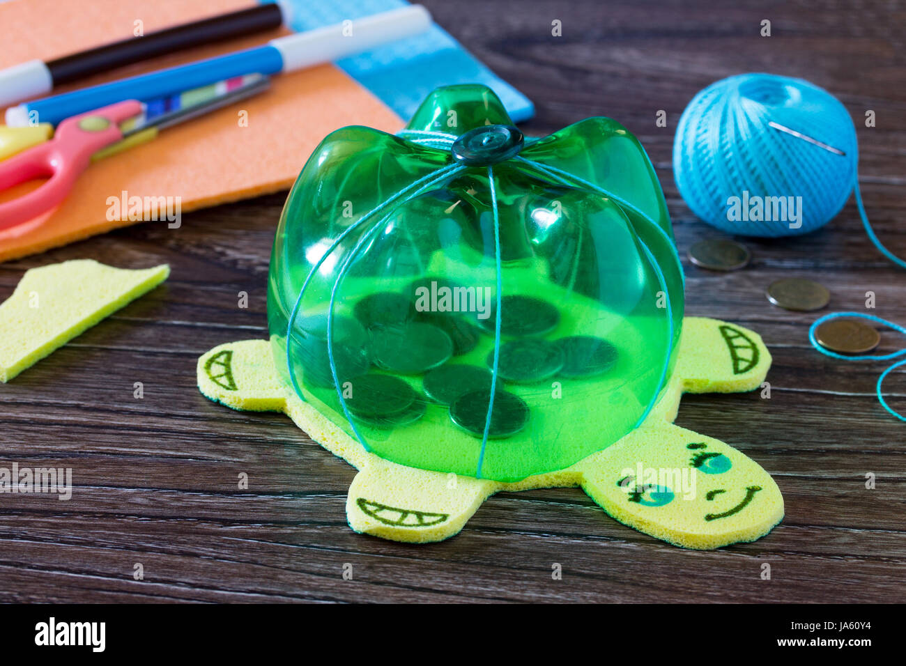Children S Hand Made Article From A Plastic Bottle Piggy Bank For