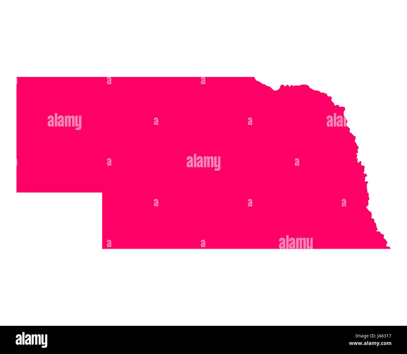 Karte von Nebraska - Stock Image