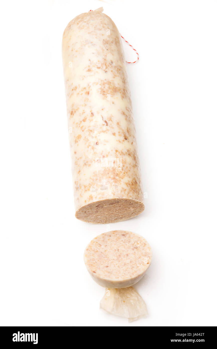 Traditional Scottish white pudding breakfast sausage made with pork and suet and oatmeal and herbs. Isolated on - Stock Image