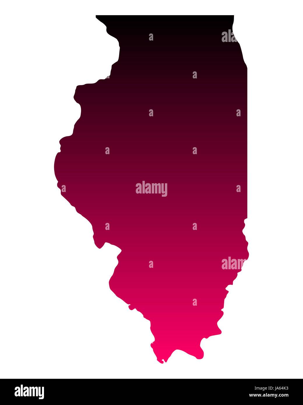 Karte von Illinois - Stock Image