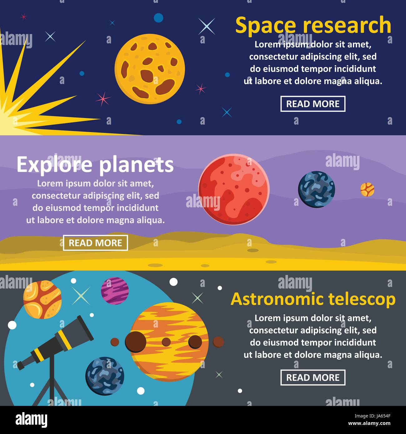 Planets research banner horizontal set, flat style - Stock Vector