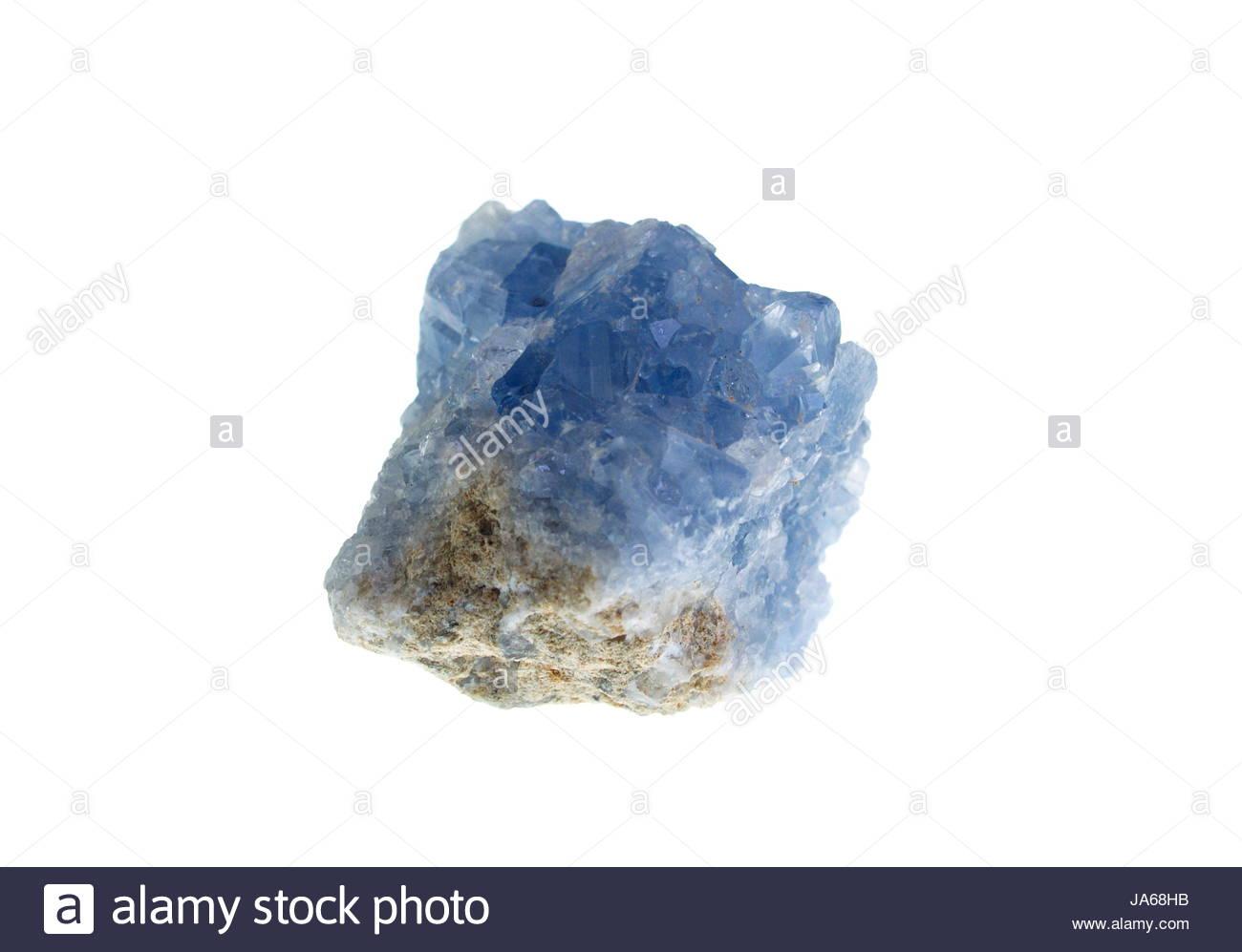 Celestine, precious stone on white background, studio isolated photo. - Stock Image