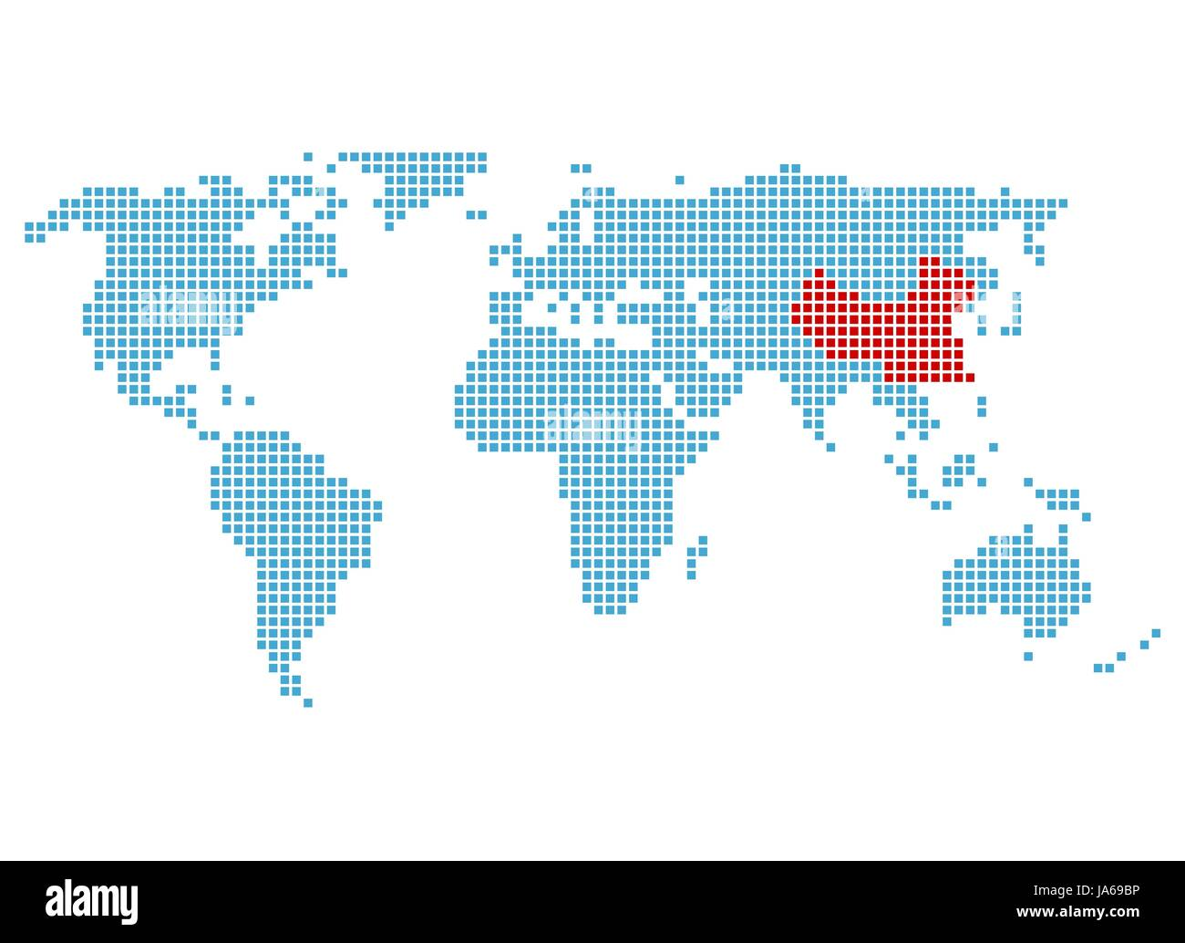 Asia Marking Chinese Situation Beijing Atlas Map Of The World