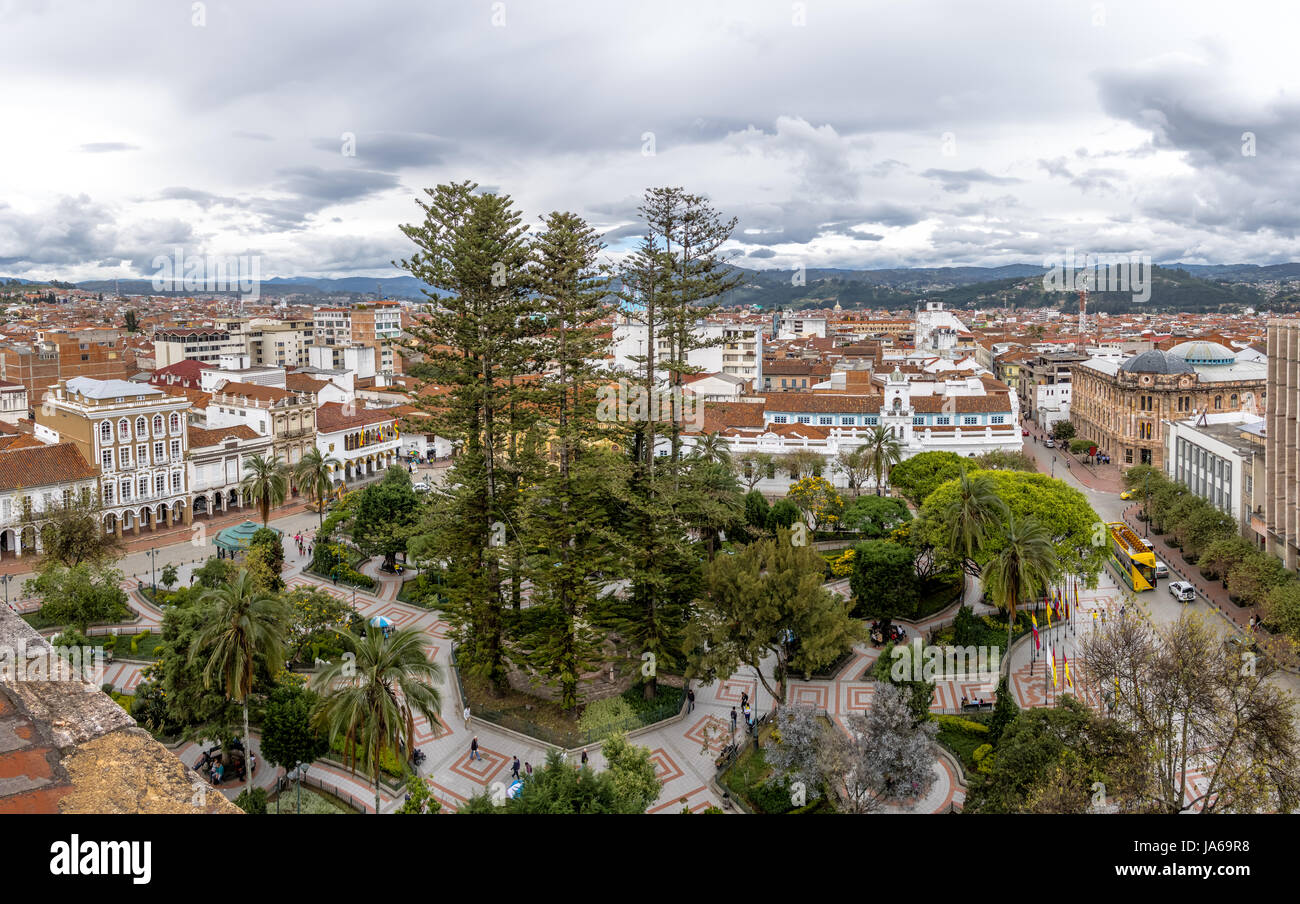 Aerial view of Cuenca city and Park Calderon - Cuenca, Ecuador - Stock Image