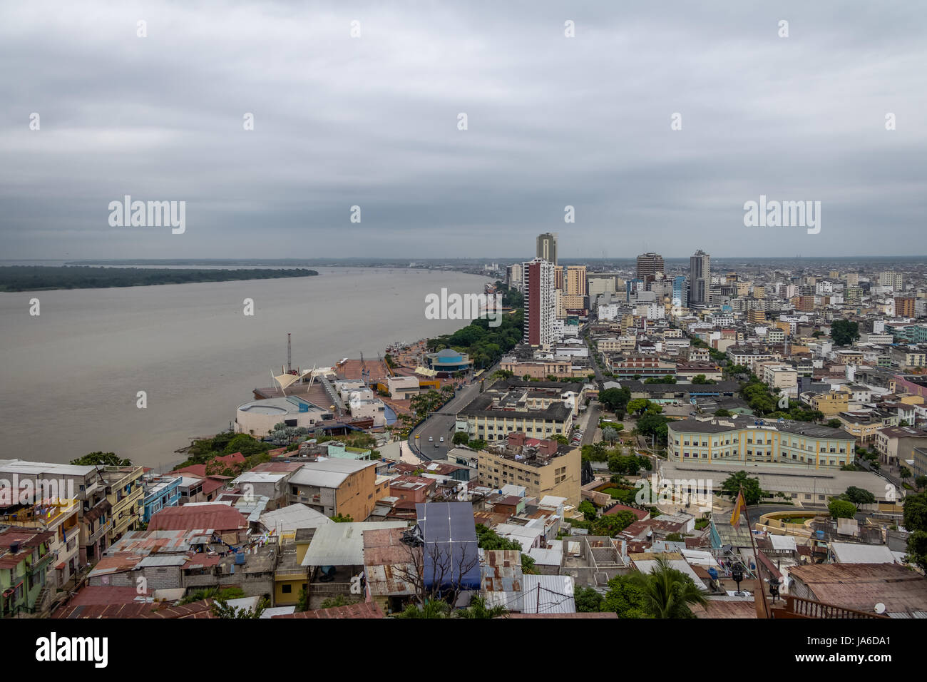 Aerial view of Guayaquil city and Guayas River - Guayaquil, Ecuador - Stock Image