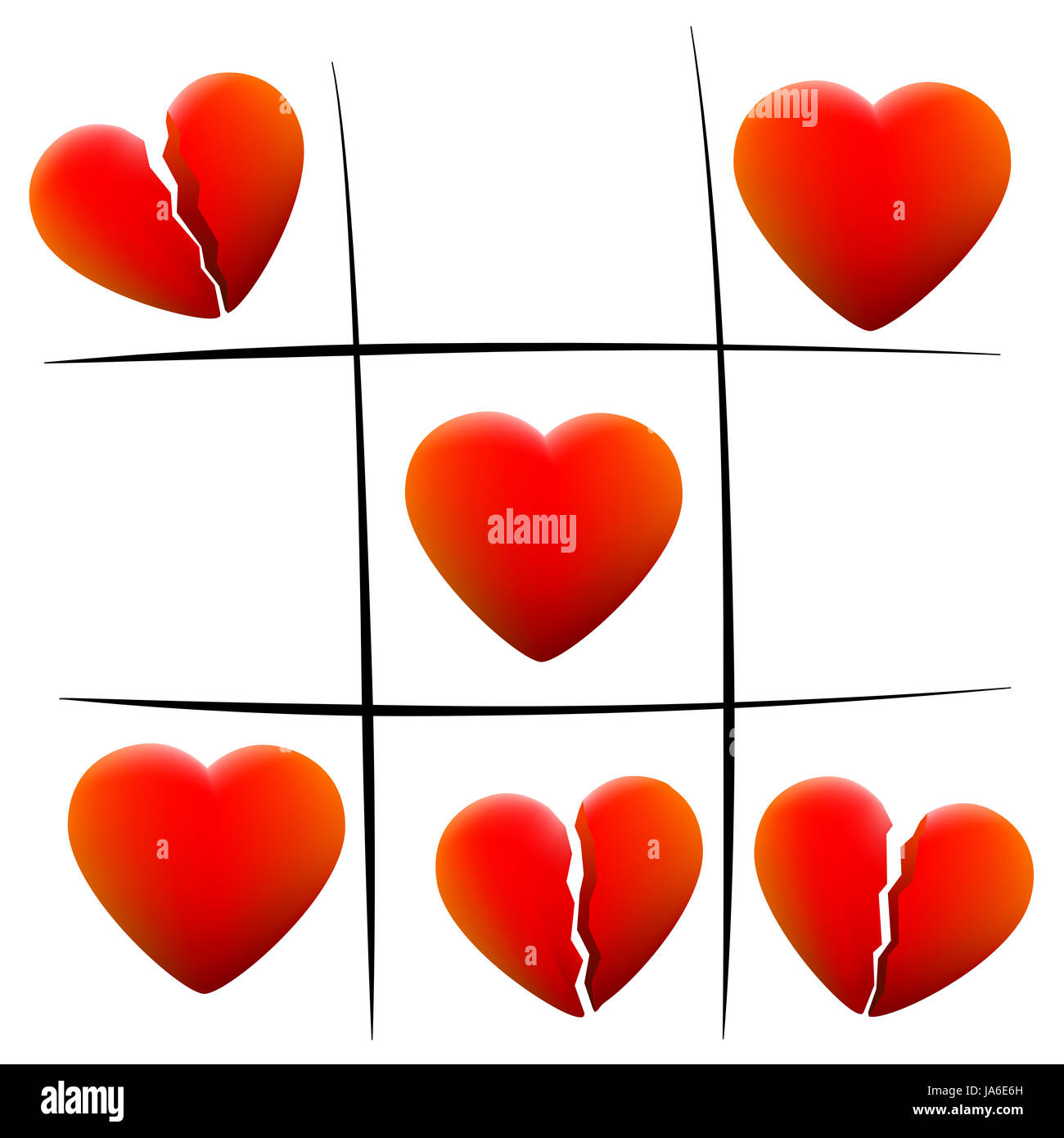 Heartbreak tic tac toe - love hearts and broken hearts - illustration on white background. - Stock Image