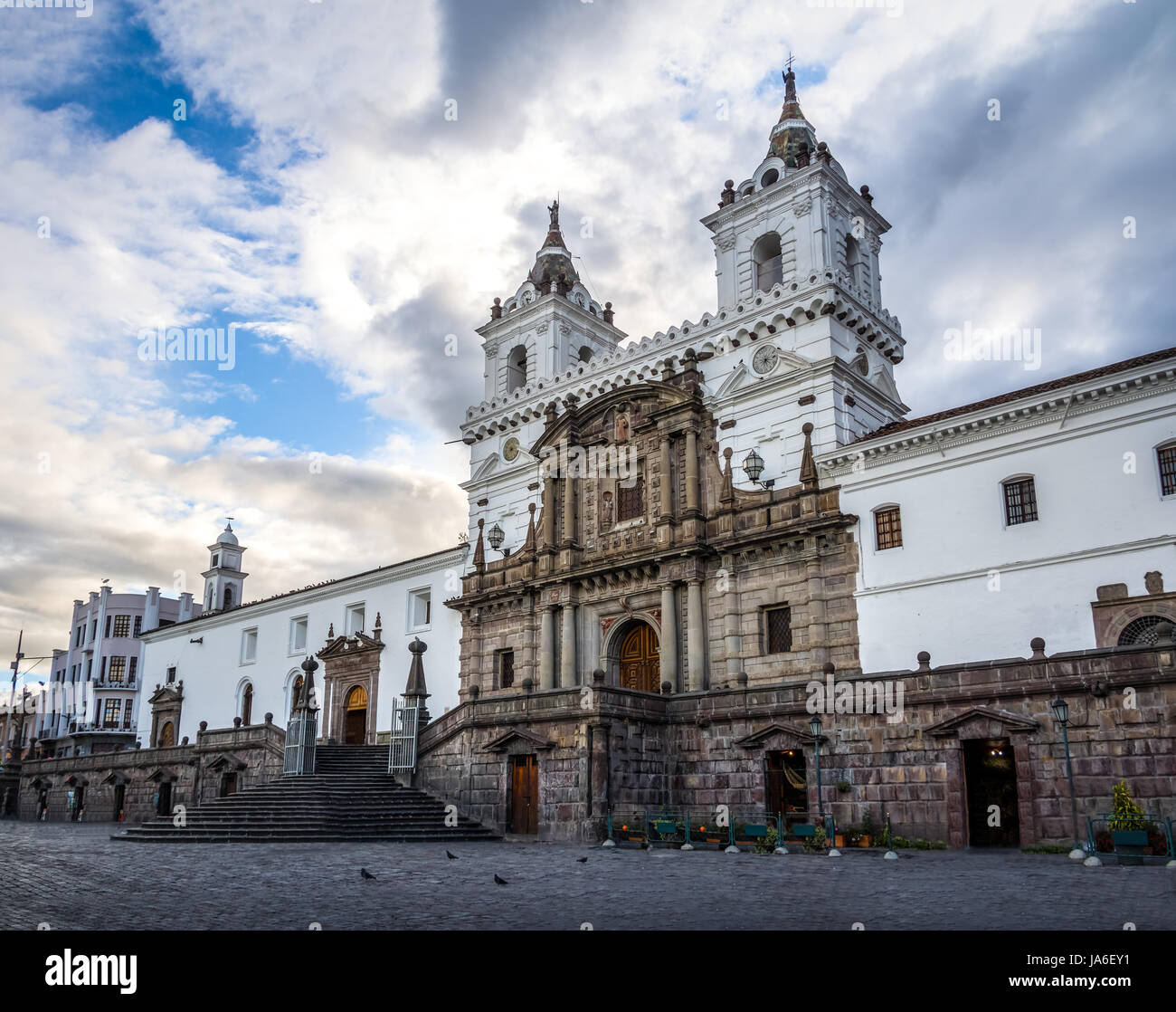 Plaza de San Francisco and St Francis Church - Quito, Ecuador - Stock Image